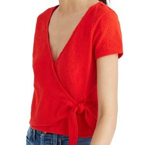 Madewell Wrap Top Red Size XXS